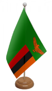 Zambia Desk / Table Flag with wooden stand and base